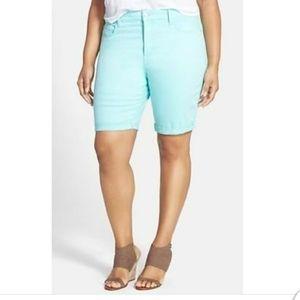NYDJ Brielle Aqua Bermuda Shorts Stretchy Jeans 14